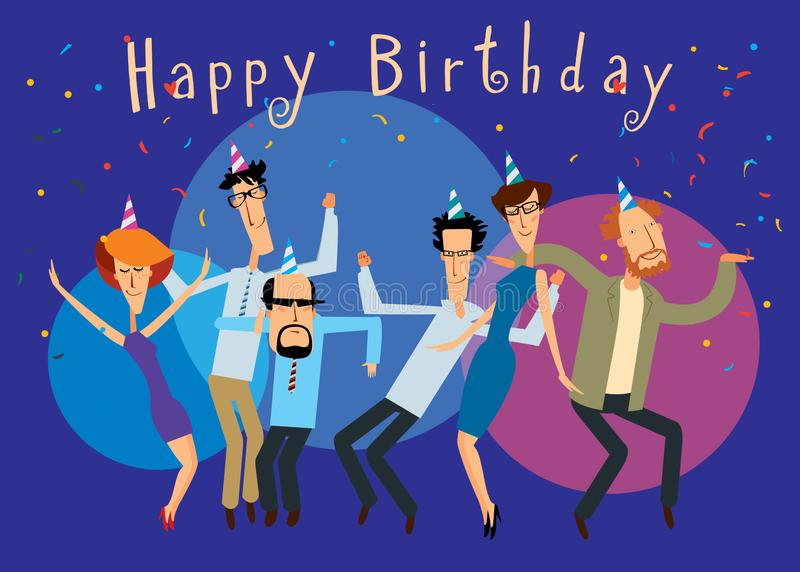 Happy Birthday. Group of cheerful people dancing at a bright party vector illustration