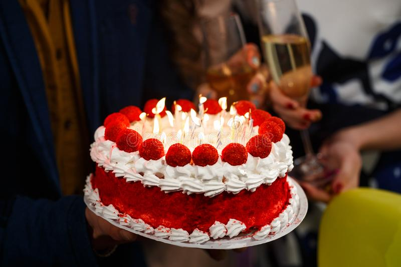 Happy birthday. A group people holding cake. royalty free stock photo