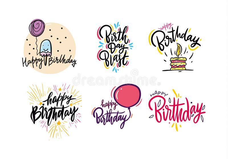 Happy Birthday hand draw vector lettering set. Cartoon style. Isolated on white background royalty free illustration