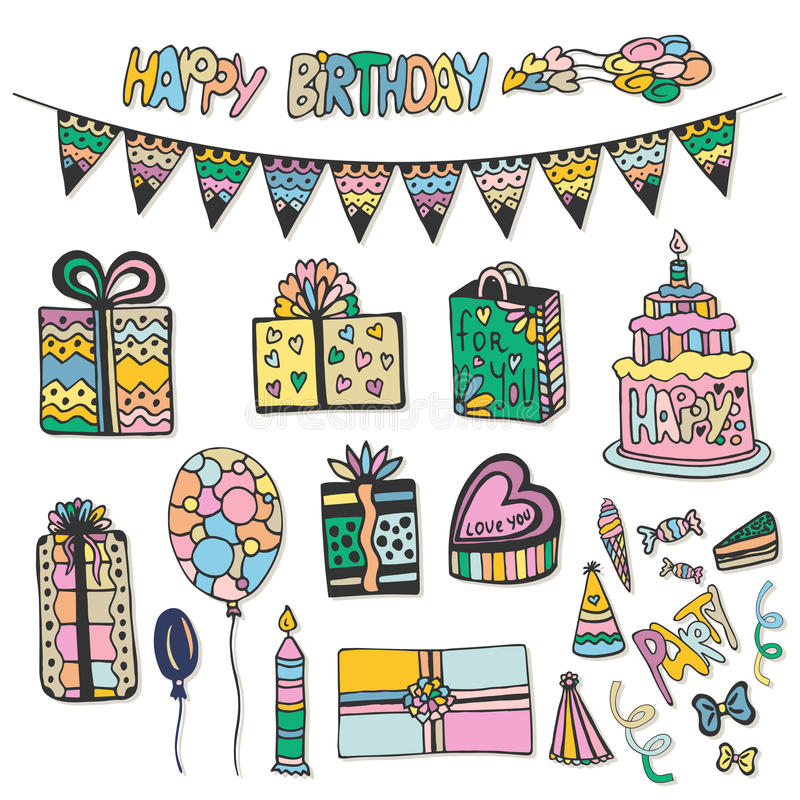 Happy Birthday hand drawn decorations. Doodle vector set with cakes, gift boxes and other party elements royalty free illustration