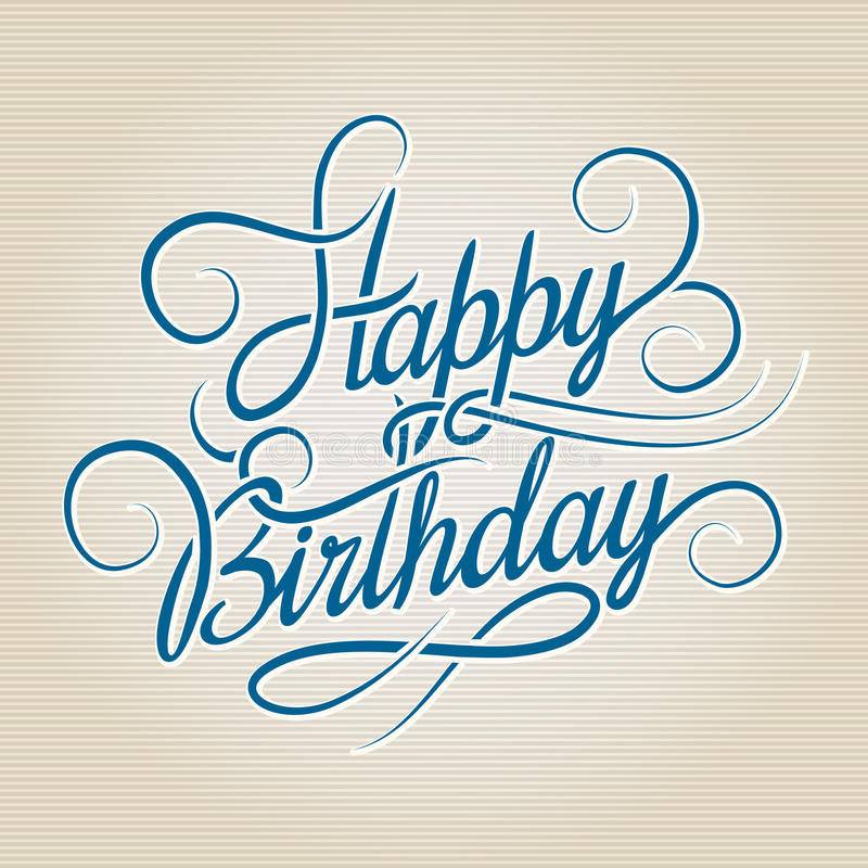 Free Happy Birthday Hand Drawn Lettering Stock Photos - 51778903