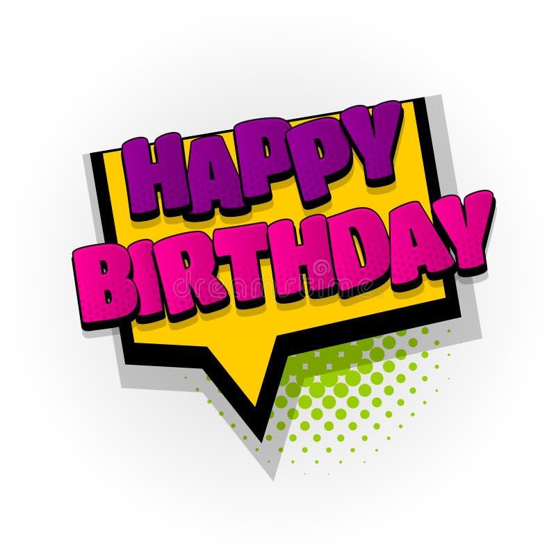 Happy birthday comic book text pop art royalty free illustration