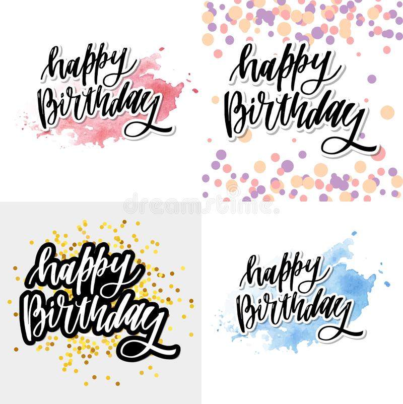 Happy birthday hand drawn vector lettering design on background of pattern with stripes. Perfect for greeting card. royalty free illustration