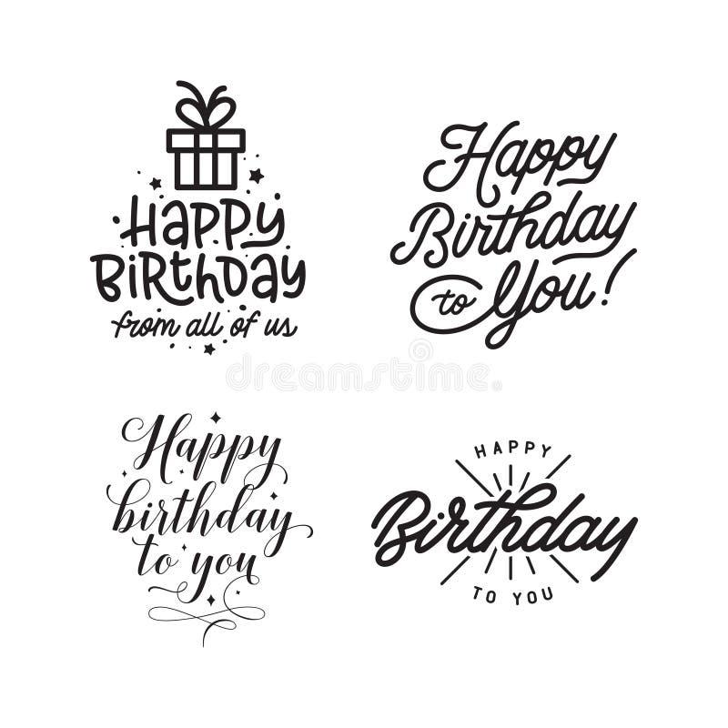 Happy birthday hand lettering compositions set. Vector vintage illustration. stock illustration
