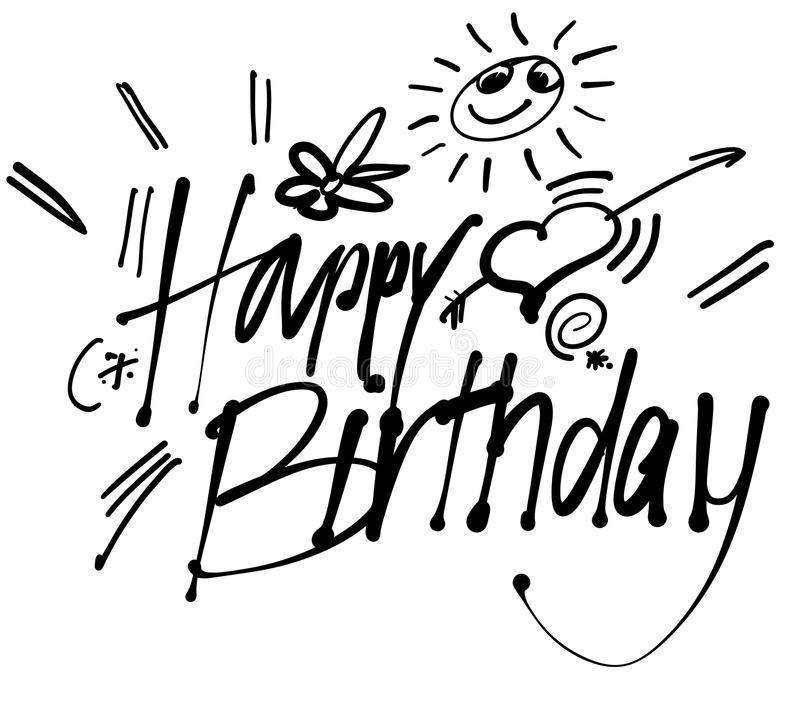Happy Birthday hand lettering greeting card. Vector Typography Design. Usabe for Inatation cars in web or print stock illustration