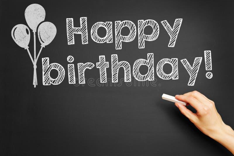 Happy birthday!. Hand writes Happy birthday! on blackboard stock photos