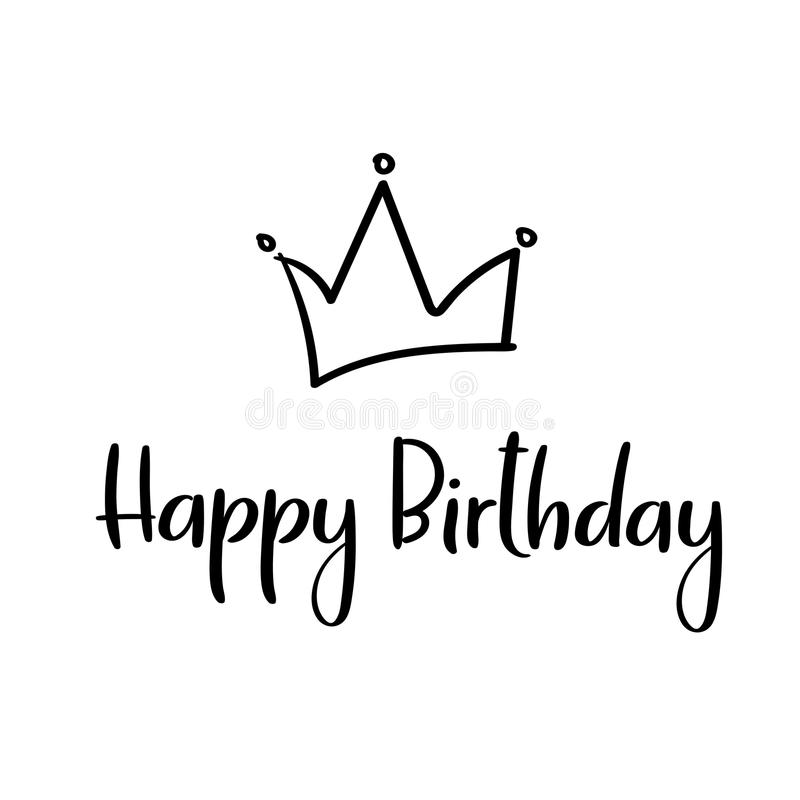 Happy birthday handwritten inscription for greeting card, invitation, poster. Vector royalty free illustration