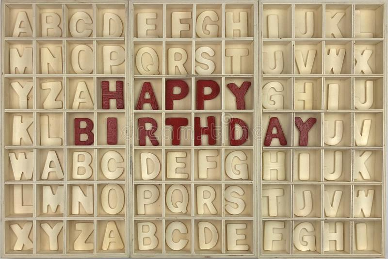 Happy Birthday. Wooden alphabet concept royalty free stock photography