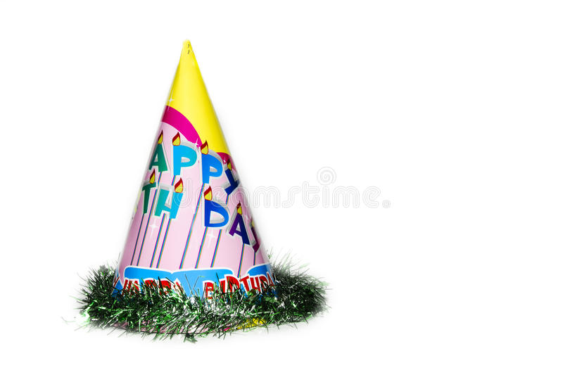 Happy birthday hat. On a white background royalty free stock image