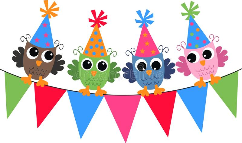Happy birthday. Header with colorful owls
