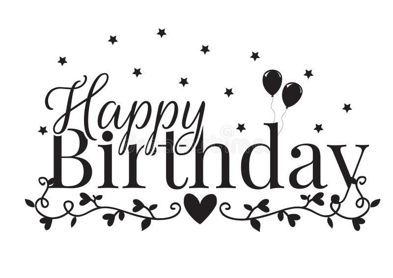 Happy Birthday, Heart, Balloon, Branch with Hearts Illustration. Wording Design royalty free illustration