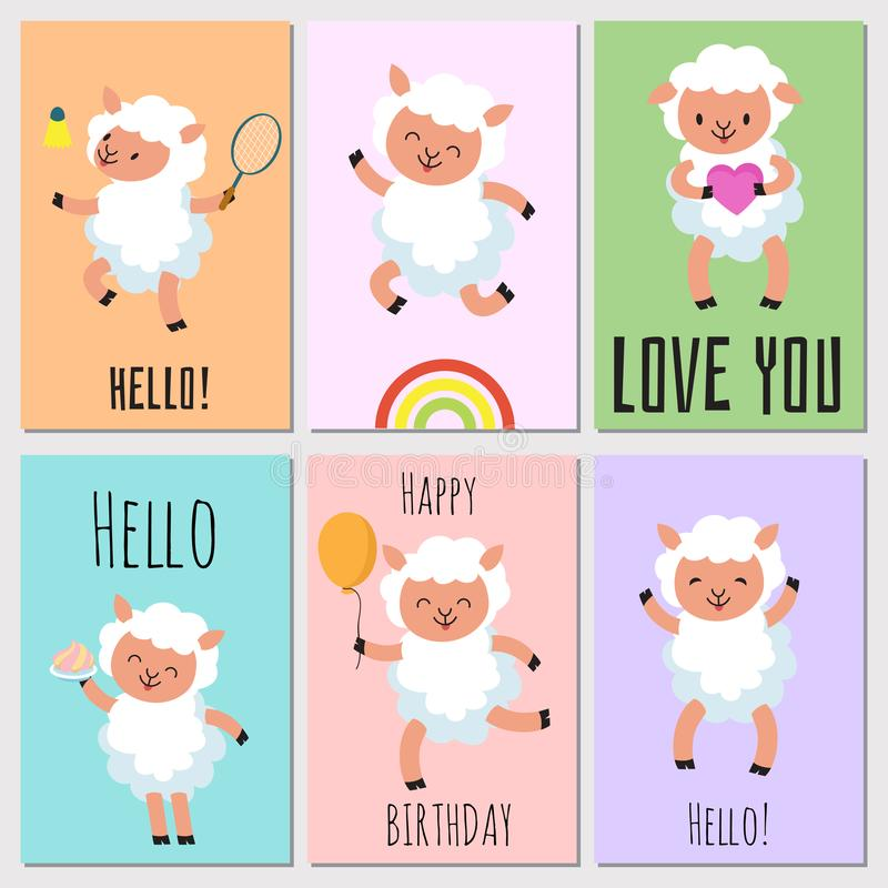 Happy birthday, hello cards with cute sheep royalty free illustration