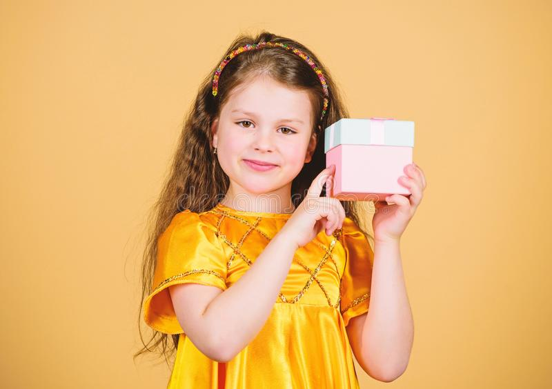Happy birthday holiday. Beauty. black Friday discount. big sale. Small girl fashion. cyber Monday. Present and gift buy. Happy shopping girl with box. Shopping stock image