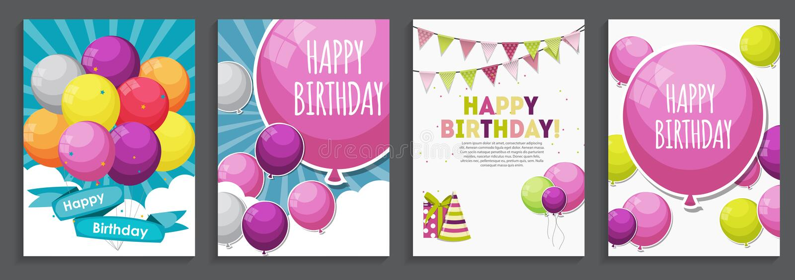 Happy Birthday, Holiday Greeting and Invitation Card Template S stock illustration