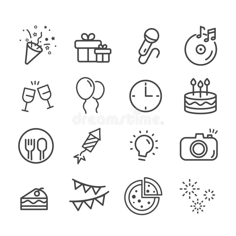 Happy birthday icon set. Celebration concept in modern flat style. Holiday symbol for web design and mobile app isolated on white royalty free illustration