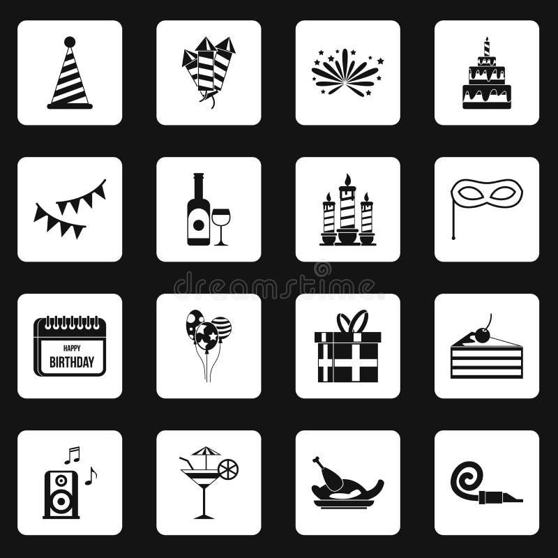 Happy Birthday icons set squares vector royalty free illustration