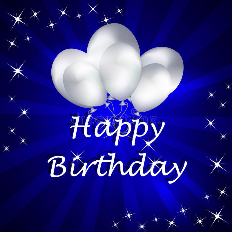 Happy birthday illustration with balloons on the background stock illustration