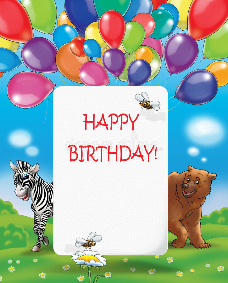 Kids Happy Birthday SUMMER balloons vector illustration