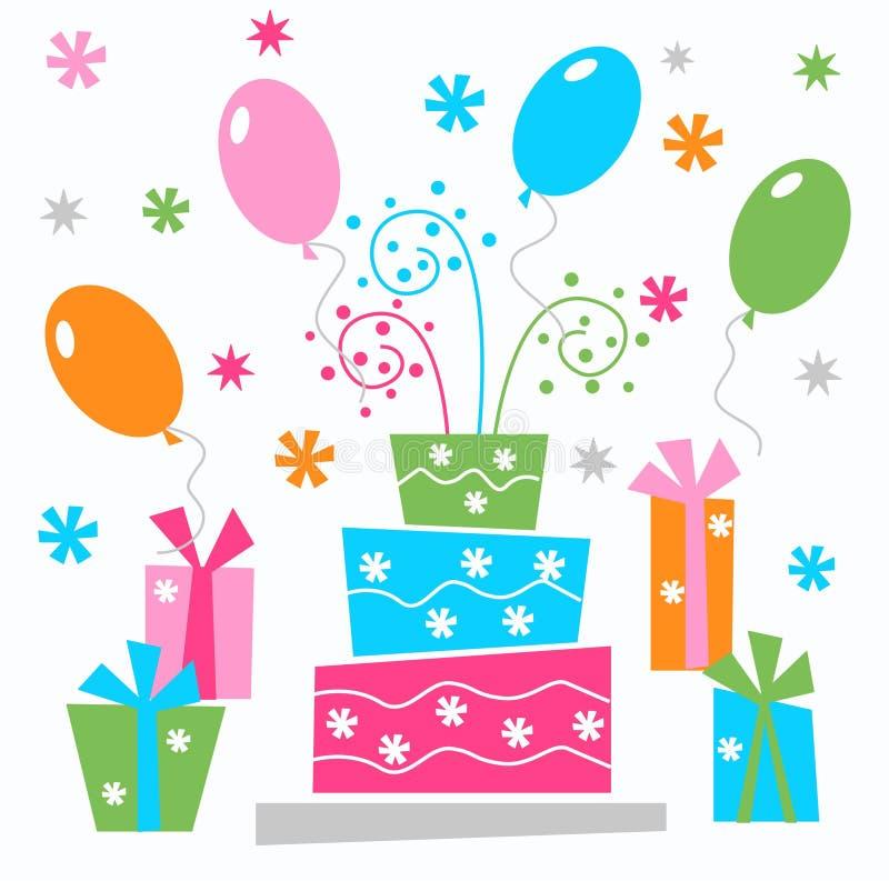 Happy birthday. Illustration invitation or header stock illustration