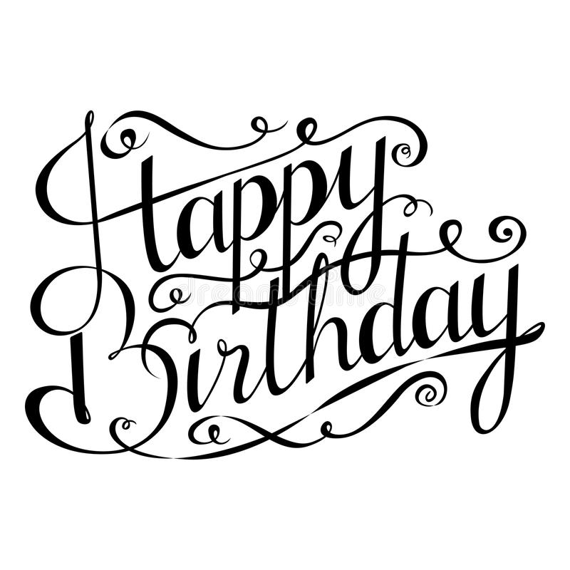 Download Happy Birthday Inscription Greeting Card With Calligraphy Hand Drawn Design Stock Illustration