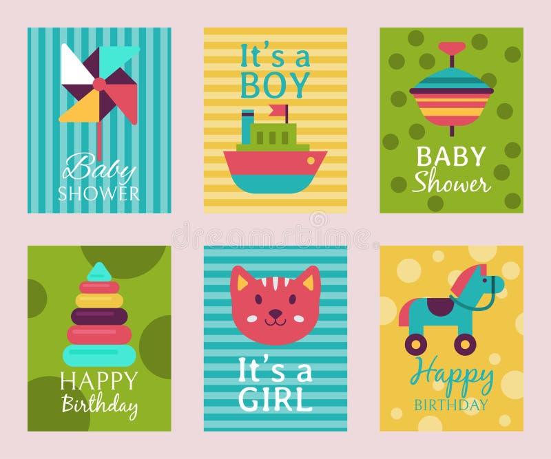 Happy birthday invitation card T-shirt print baby shower vector illustration. Kid announcement motherhood greeting event. Poster. Babyshower new born royalty free illustration