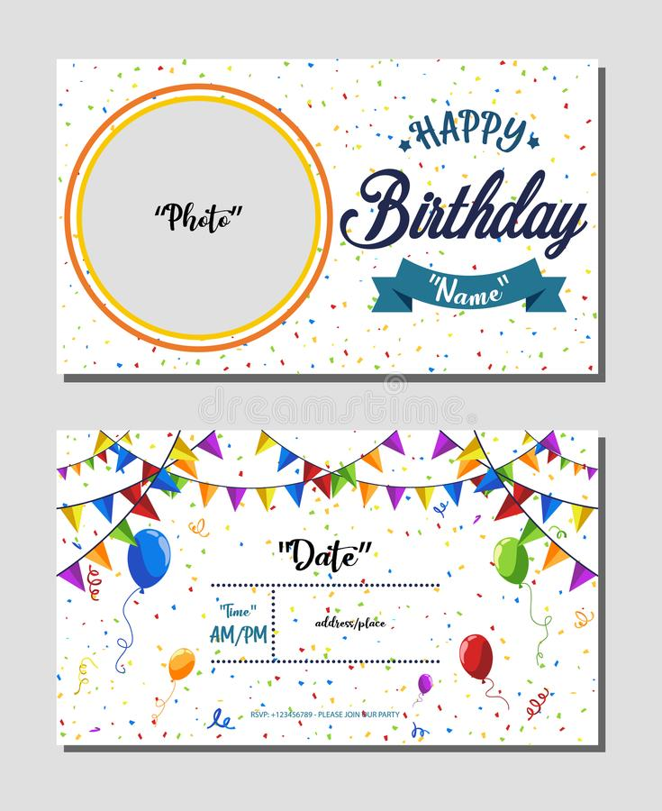 Happy Birthday Invitation Card Template Vector Illustration