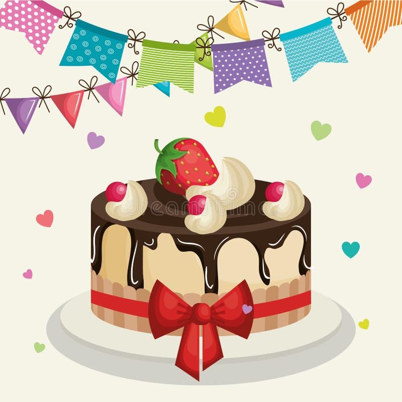 Happy birthday invitation with sweet cake. Illustration design vector illustration
