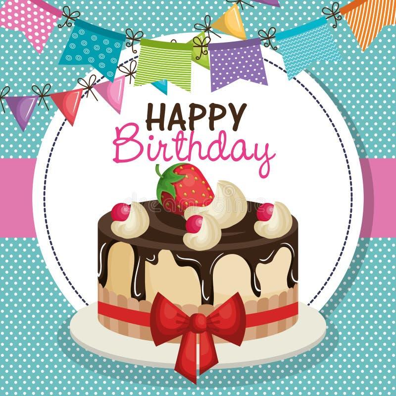 Happy birthday invitation with sweet cake. Illustration design stock illustration