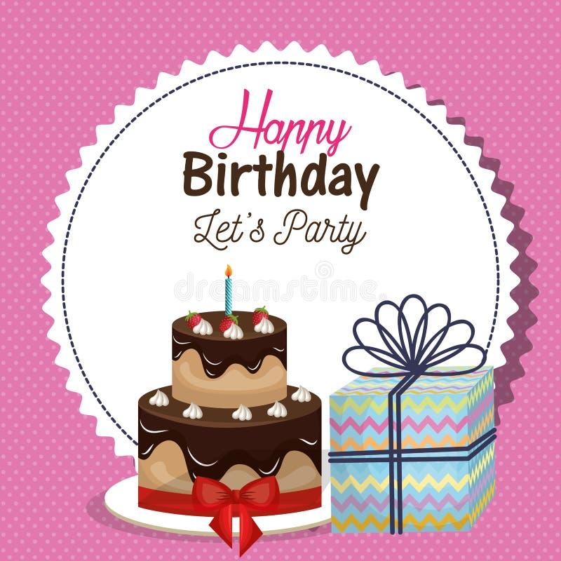 Happy birthday invitation with sweet cake. Illustration design royalty free illustration