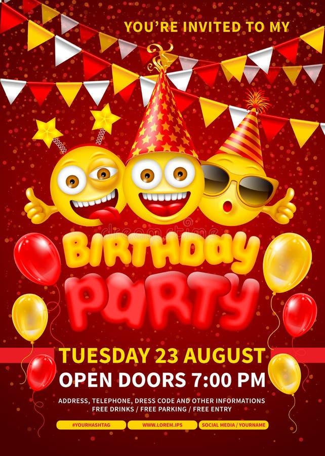 Happy Birthday Invitation Template vector illustration