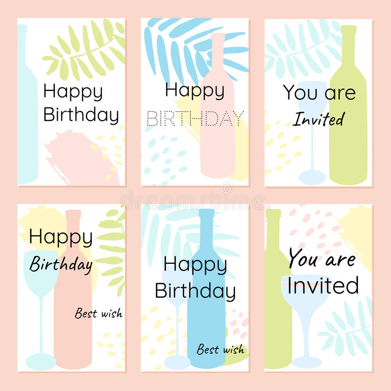 Happy birthday and invitation vector cards in a minimalist style download happy birthday and invitation vector cards in a minimalist style stock vector illustration of stopboris Images