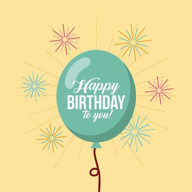 Happy birthday kawaii ballons vector illustration