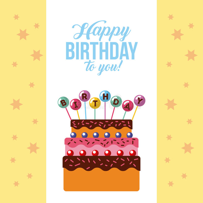 Happy Birthday Kawaii Cake Stock Vector Illustration Of Background