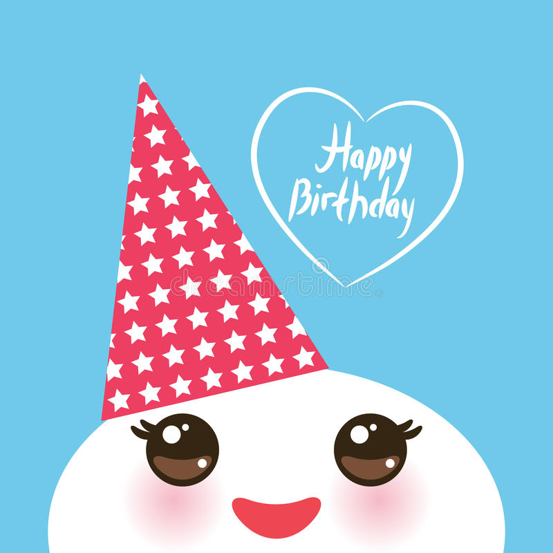Happy birthday, Kawaii funny white muzzle with pink cheeks and eyes in the red cap on light blue background. Vector stock illustration