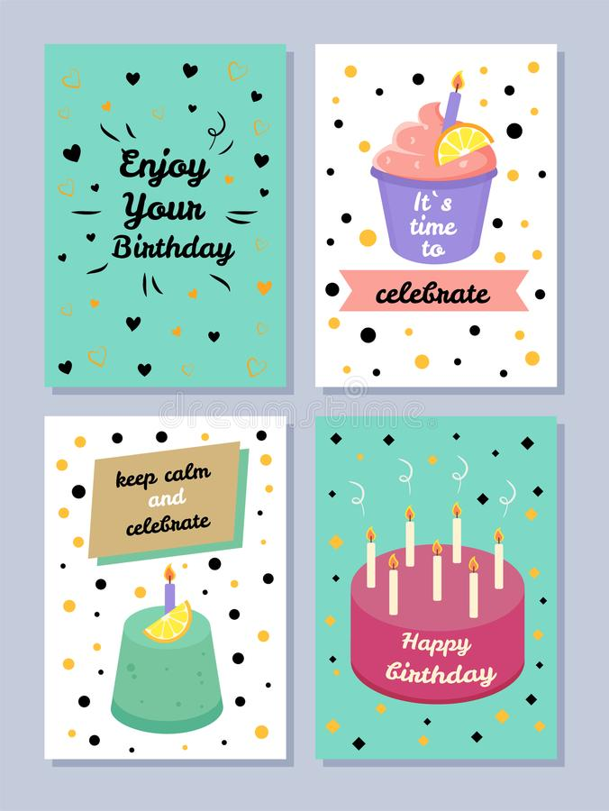 Happy Birthday, Keep Calm and Celebrate Poster stock illustration
