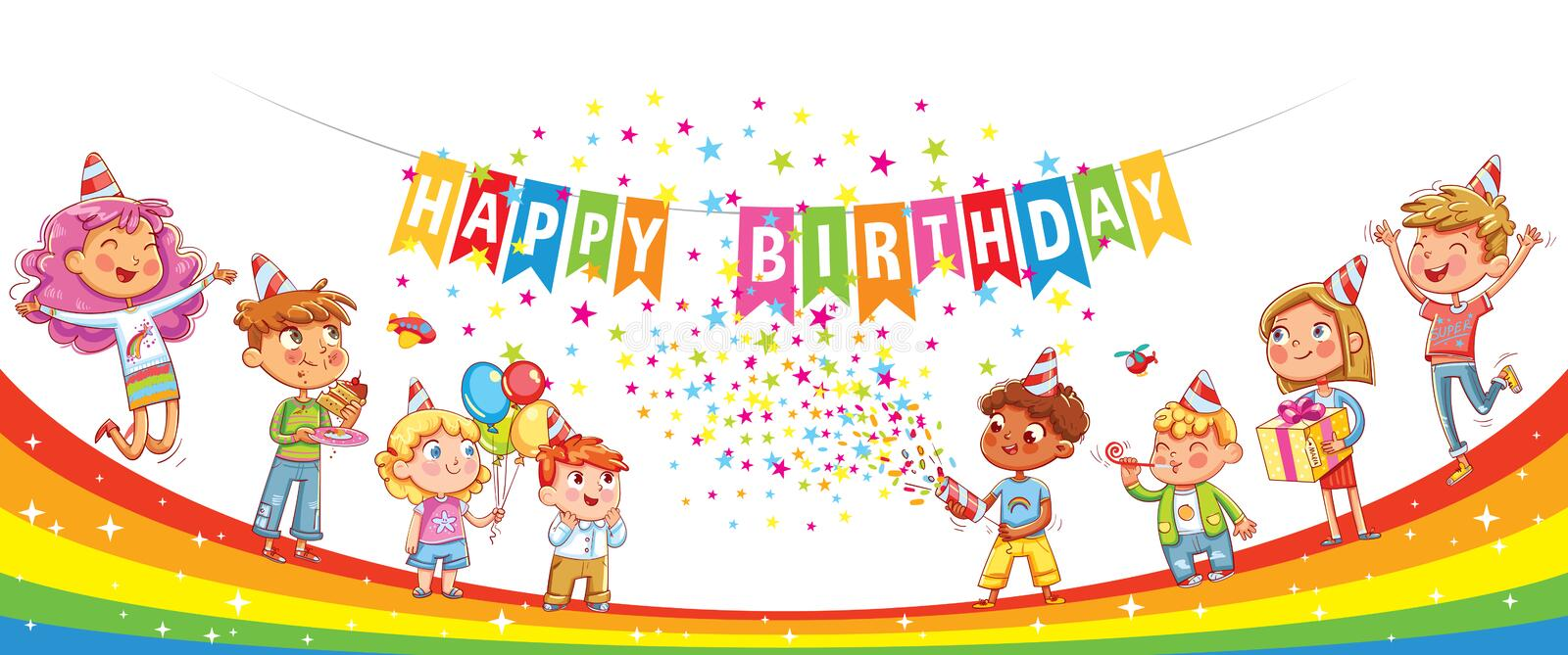 Happy Birthday. Kids celebrating with gift, cake confetti and balloons. Jumping have fun. Template for advertising brochure. Ready for your message. Funny royalty free illustration