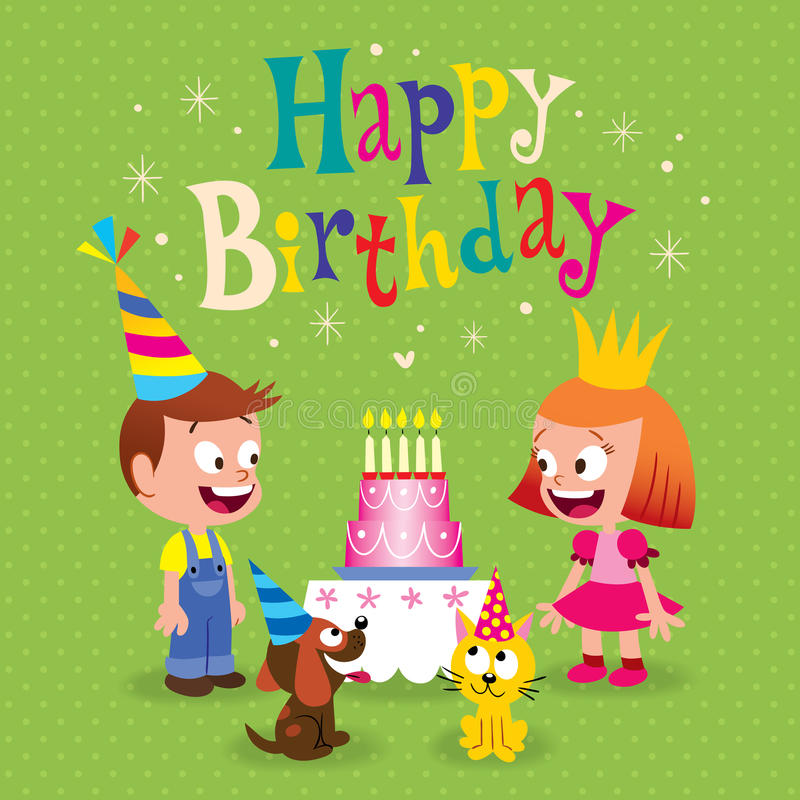 Happy Birthday kids greeting card. With little girl and boy puppy and kitten royalty free illustration