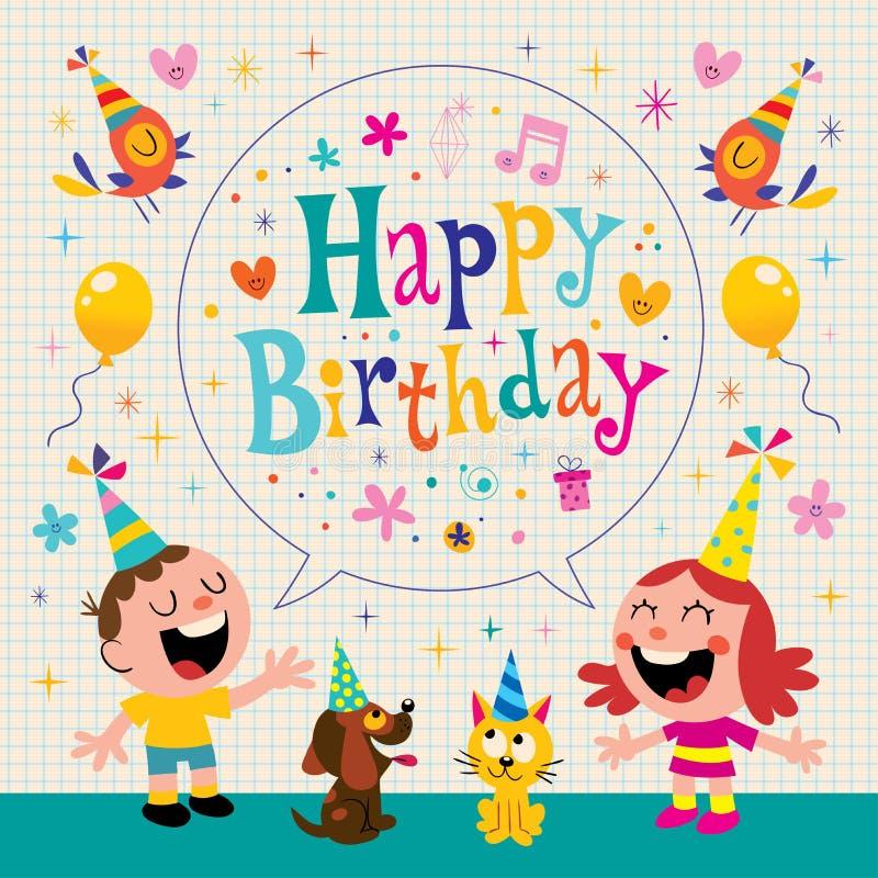 Happy Birthday kids greeting card vector illustration
