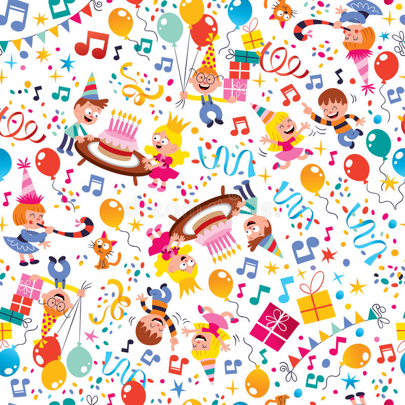 Free Happy Birthday Kids Party Pattern Stock Photography - 29141882