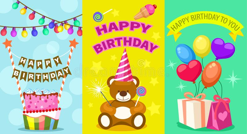 Happy birthday kids postcard set royalty free illustration