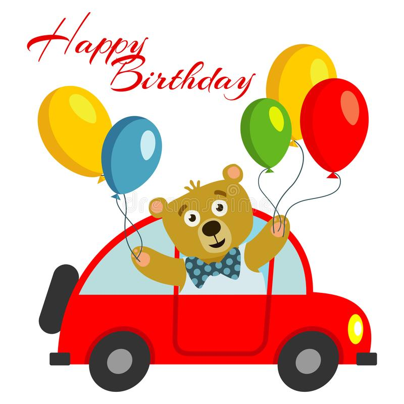 Happy birthday kids postcard template with bear with balloons in red car stock illustration