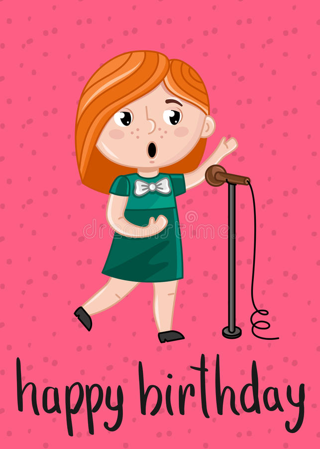Download Happy Birthday Kids Postcard Template Stock Vector   Illustration  Of Celebration, Microphone: 98062191