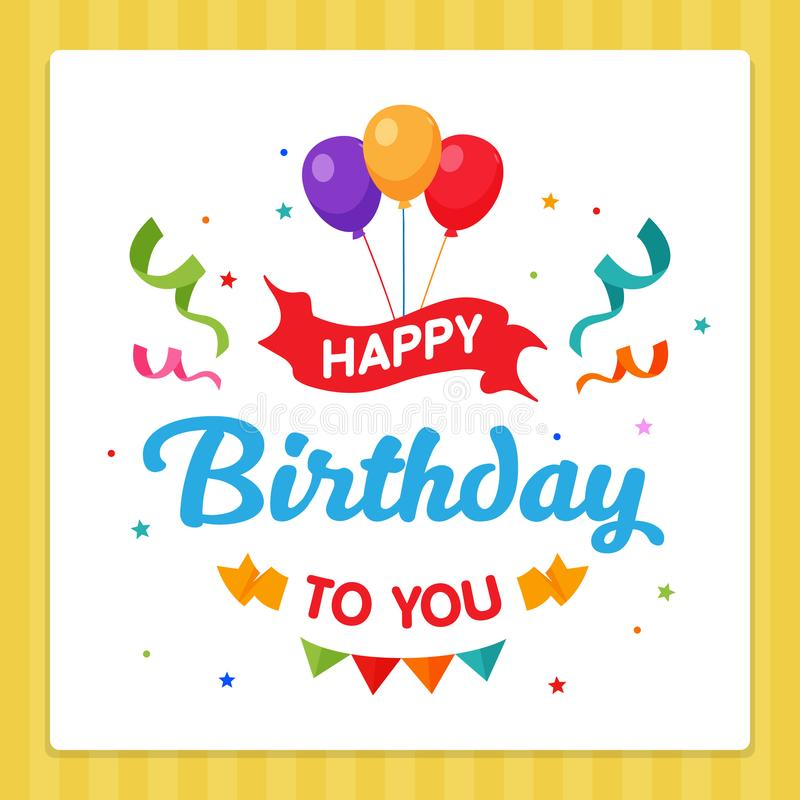Happy Birthday label Card Typography with Party Decoration Ornament. royalty free illustration