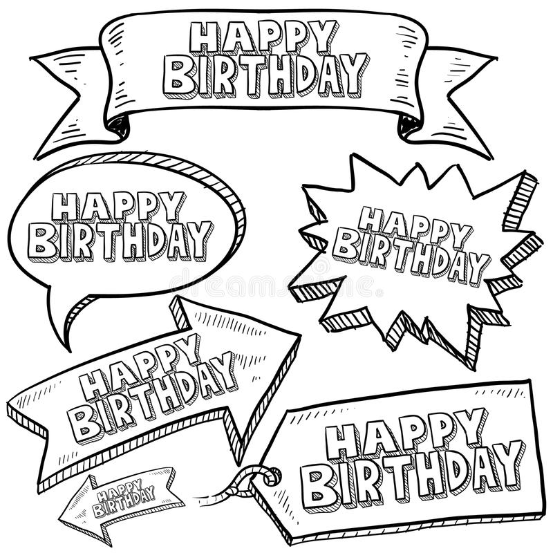 Happy Birthday Labels And Banners Royalty Free Stock Photography