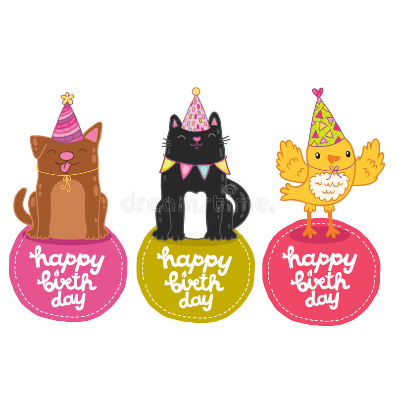 happy birthday labels with cat  dog and bird  stock vector