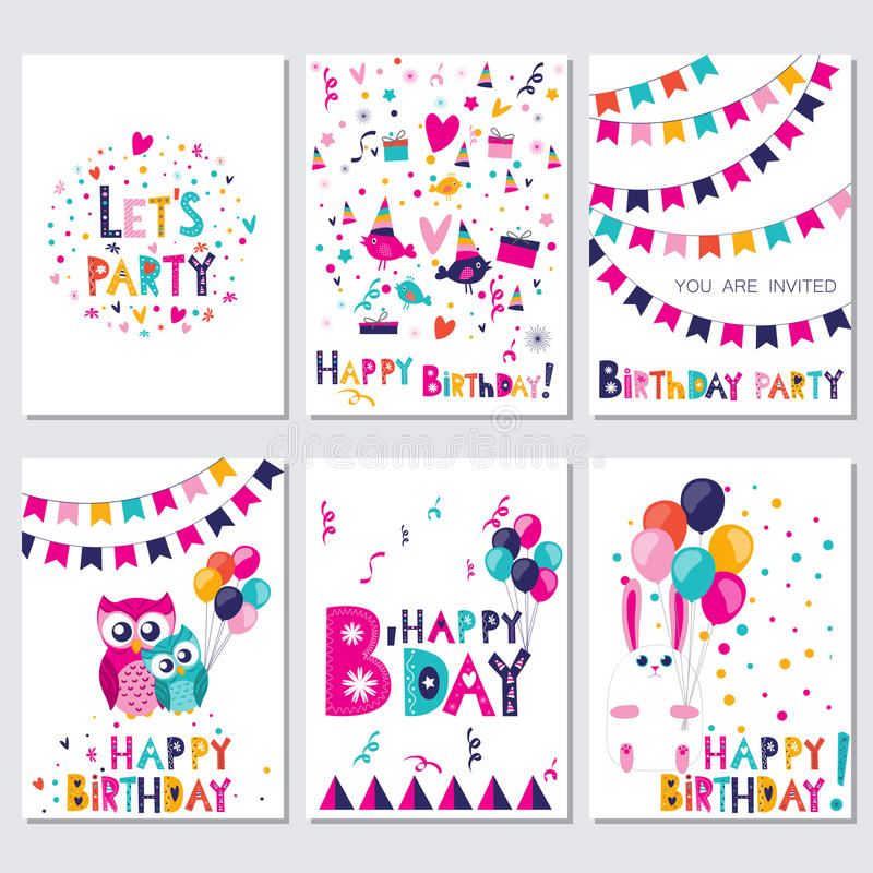 Happy Birthday. Let s party. Set of bright colorful birthday cards with birds, owls and rabbit. Vector illustration vector illustration