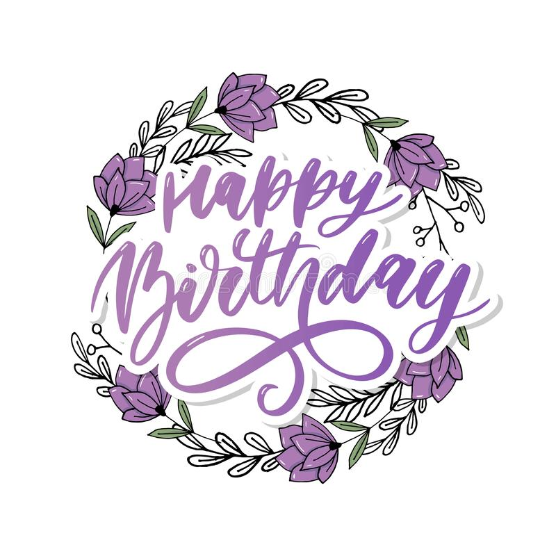 Happy Birthday lettering calligraphy brush gradient sticker vector. Happy Birthday lettering calligraphy brush gradient sticker, typography, text, card, vector royalty free stock images