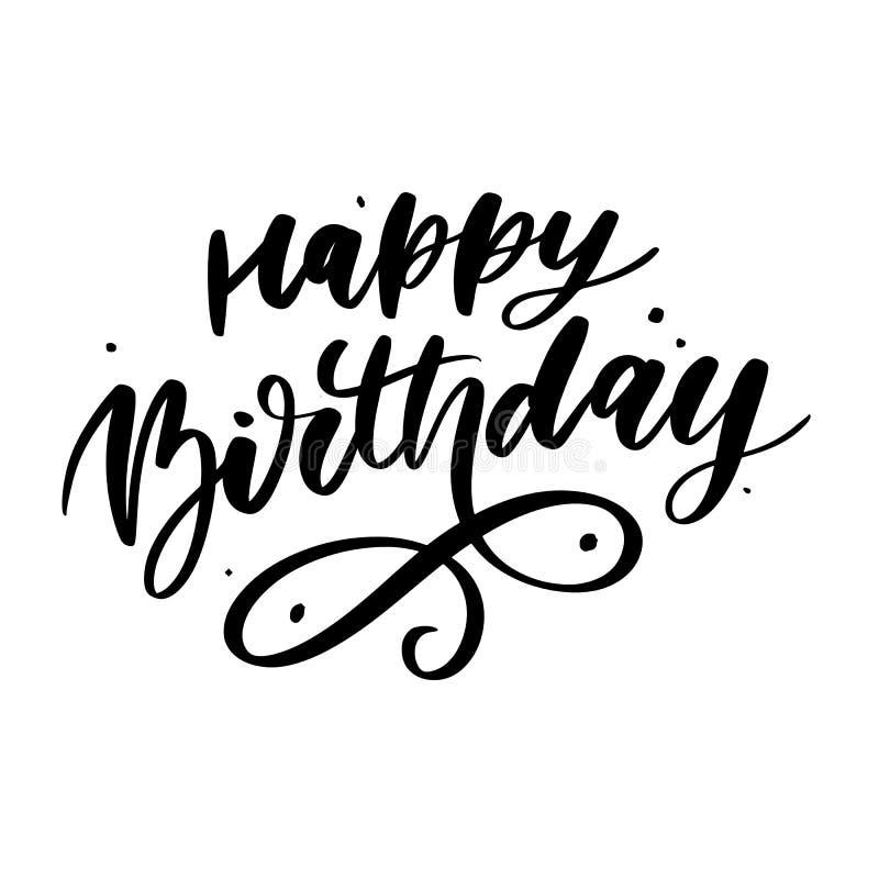Happy Birthday lettering calligraphy brush gradient sticker vector. Happy Birthday lettering calligraphy brush gradient sticker, typography, text, card, vector stock photos