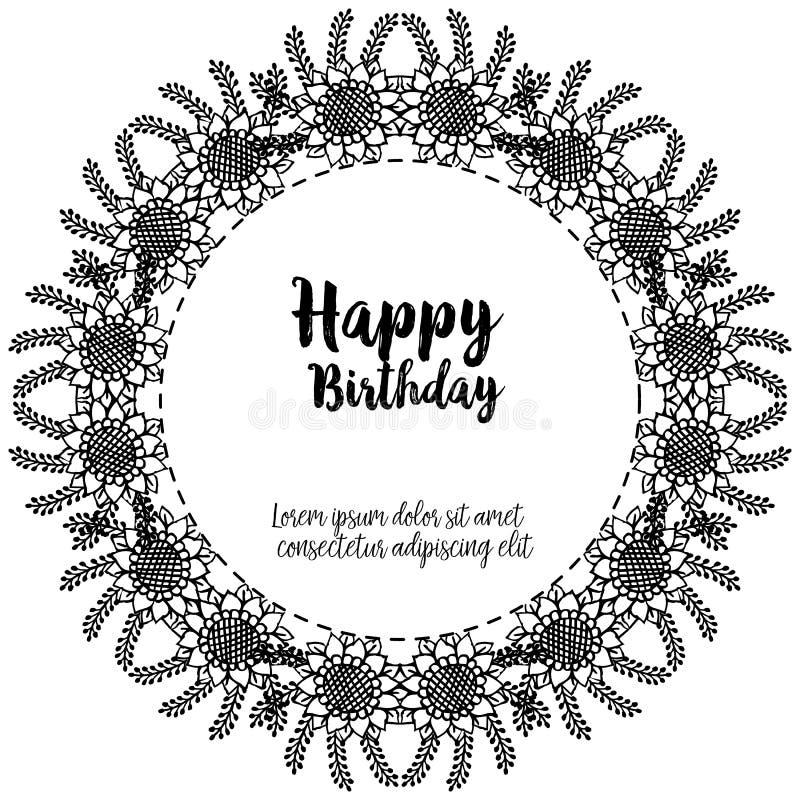 Happy birthday lettering, design greeting cards, elegant wreath frame. Vector. Illustration royalty free illustration