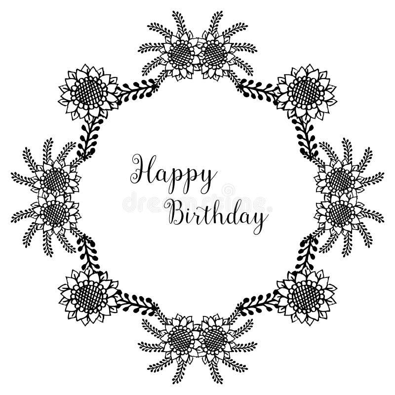 Happy birthday lettering, design greeting cards, elegant wreath frame. Vector. Illustration vector illustration